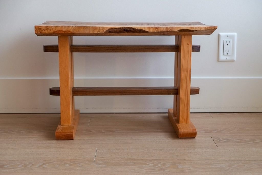 Figured maple bench with douglas fir and walnut