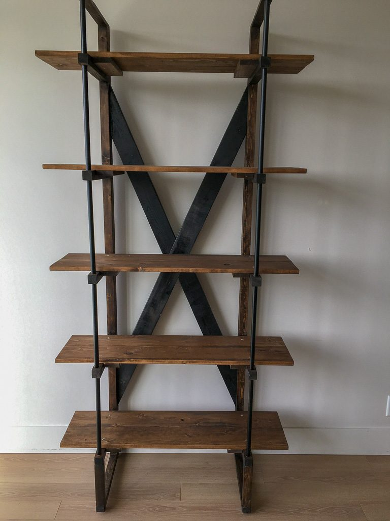 Modern industrial bookshelf with aluminum